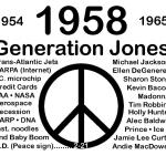 My design brings attention to the year 1958 and the Joneser Generation.  It demonstrates that on 2/21/1958, both the graphic design symbol for N. D. and I were established. Now it  used as the peace symbol. Listed are other important people and events that started in 1958. Andrew Lerner.