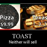 The burnt pizza represents Herman Cain, his 999 plan, and sexual misconduct. The Texas toast represents Rick Perry and his memory lapse. Both of these errors have resulted in ending their chances of winning the Republican nomination. represented as toast. Cain sold pizza. Perry governed Texas.