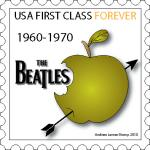 Original design for a postage stamp using a music group logo, and symbolic of their record company label. An Andrew Lerner Graphic Design