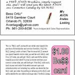 Front and back of Business card for Avon Rep. Reverse of Business Card Marketing and Promotion. To expand customer base, and increase sales of existing. An Andrew Lerner Graphic Design