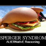 "People with Asperger's Syndrome may only see the cleverness of this picture. This might only be after they struggle to see the big picture: A woman, whose ""Ass"" has a ""Burger"" in it. It was the idea of Andrew Lerner to use the picture in this way, and to use his slogan of ALtERNative Reasoning."